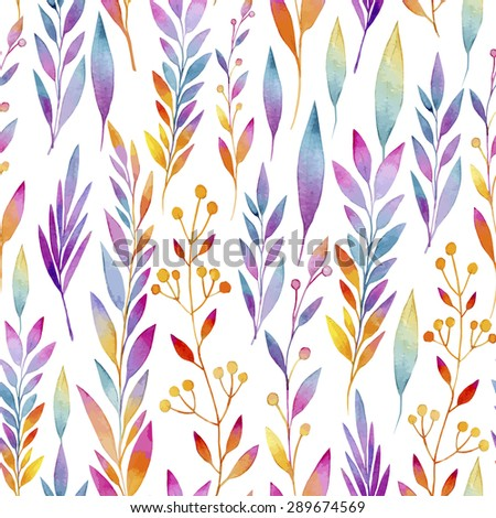 seamless pattern consisting vines colorful leaves stock vector