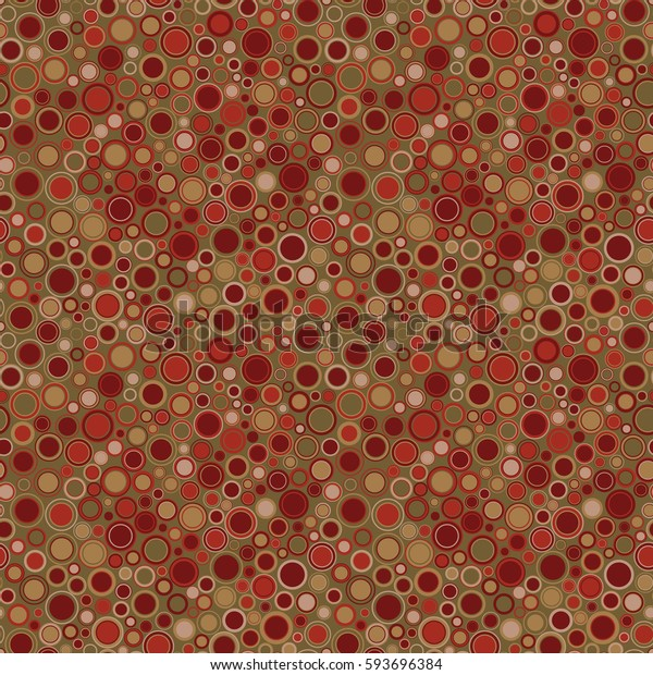 Seamless pattern. Consists of geometric figures having round shape and different color, located on olive background. Useful as design element for texture and artistic composition.