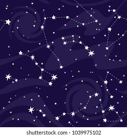 Seamless pattern of constellations on black background.  Astronomical cosmos pattern