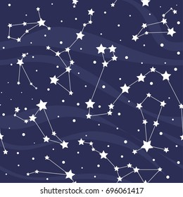 Seamless pattern with constellations. Space background with stars