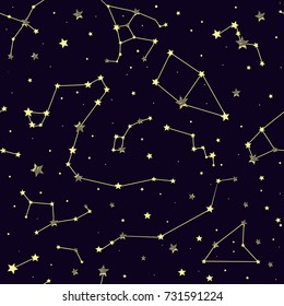 Seamless pattern with constellations. Vector pattern with stars.