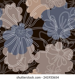 Seamless pattern with contour of flowers. White silhouettes of flowers on black background.