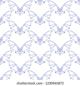 Seamless pattern of the contour flying bats