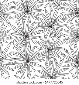 Seamless pattern with contour lines of tropical leaves on a white background.