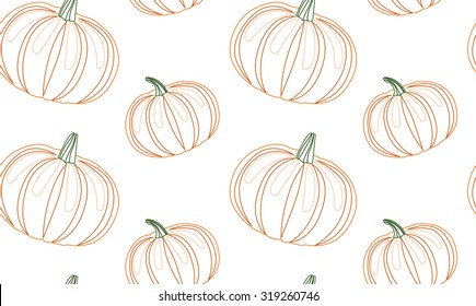 Seamless pattern with contour pumpkins for your creativity