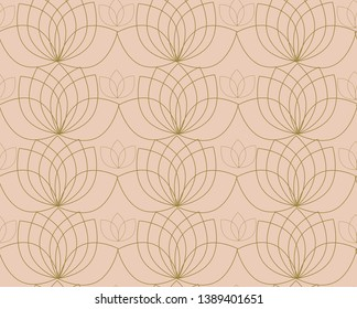 Seamless pattern with contour of water lilies or lotos. Soft color texture, wallpaper, background.