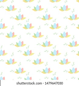 Seamless pattern with contour of water lilies or lotos. Whiter color texture, wallpaper, background.