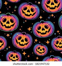 seamless pattern of cool multicolored  haloween pumpkins