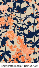 Seamless pattern of Coral vine flower and silhouette leaf, retro / vintage saturation colour, flat rerto vector