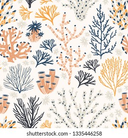Seamless pattern with corals and seaweed or algae on white background. Backdrop with exotic seabed species, underwater creatures. Flat colorful vector illustration for wrapping paper, textile print.