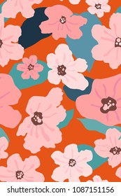 Seamless pattern of Cordia sebestena flower, flat simple retro/vintage colorful vector