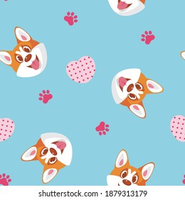 Seamless pattern with corgi heads, hearts and dog paws. Vector background for textile, wallpaper, bedding, home clothes