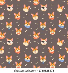Seamless pattern with corgi pembroke. Cheerful faces of a dog. Face pattern. Background with muzzles. Cartoon stylization of a corgi.