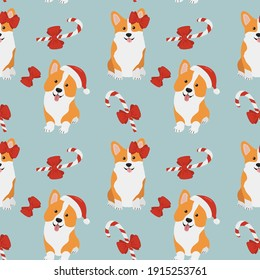 Seamless pattern with  corgis in Santa Claus hat and caramels. Background for wrapping paper,  greeting cards and seasonal designs. Merry Christmas and Happy new year.