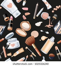 Seamless pattern from cosmetics objects cream, face powder, lipstick, brush, foundation cream, pencil contour on a black background