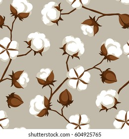 Seamless pattern with cotton bolls and branches.