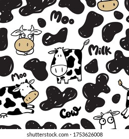 Seamless pattern with cow, symbol new year 2021