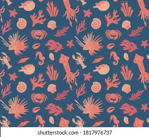 Seamless pattern with crab, corals, shells, seaweed, squid, starfish, lobster, zebra lionfish. Vector design of sea life for fabric, textile, wallpaper, print