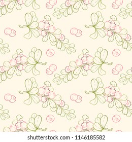Seamless pattern of cranberry branches on white background. Ripe sweat berries can be used for wallpaper, textile, wrapping paper or website background.