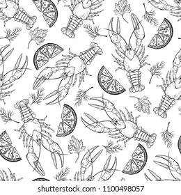 Seamless  pattern with crayfish, parsley, dill and lemon slices on white background. Black and white food vector Illustration.