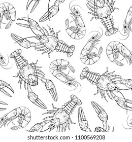 Seamless  pattern with crayfish and shrimps on white background.