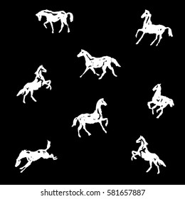 Seamless pattern with crayon hand drawing white silhouette horses. Vector background. Chalk drawing illustration.