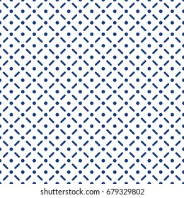Seamless pattern created from dots and lines, repeating and creating web, stock vector