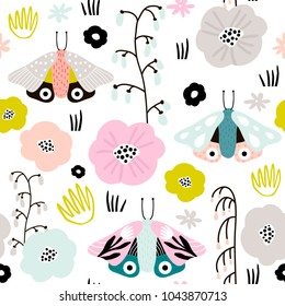 Seamless pattern with creative decorative flowers and moths in scandinavian style. Great for fabric, textile. Vector background