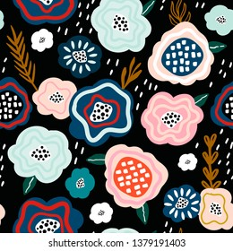 Seamless pattern with creative decorative flowers in scandinavian style. Great for fabric, textile. Vector background