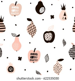 Seamless pattern with creative modern fruits. Hand drawn trendy background. Great for fabric and textile. Vector Illustration