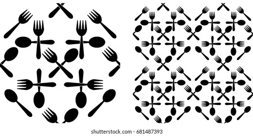 Seamless pattern of crossed black spoon and fork. Single pattern is shown in the left. The example of assembly seamless is shown in the right.