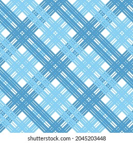 seamless pattern with crossed blue and light blue lines on white background
