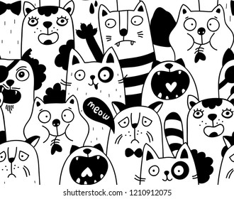 Seamless pattern with crowd of cats. Creative wallpaper for adults coloring. Vector illustration of wild and domestic animals.