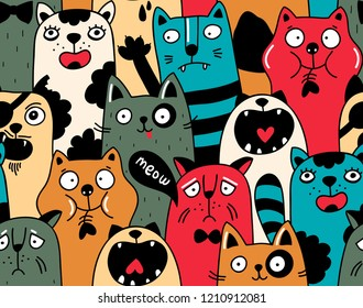 Seamless pattern with crowd of cats in different colors. Vector illustration of wild and domestic animals.