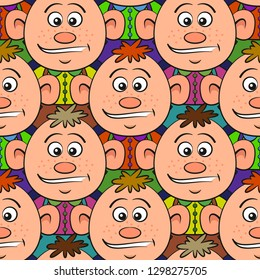 Seamless Pattern, a Crowd of Guys, Cartoon Characters, Tile Background. Vector