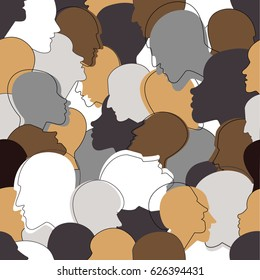 Seamless pattern of a crowd of many different people profile heads. Vector background.