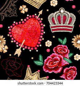 Seamless pattern with Crown, roses and flowers and heart.
