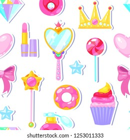 Seamless pattern with crown,diamond,heart,bow,mirrow and other elements on white background