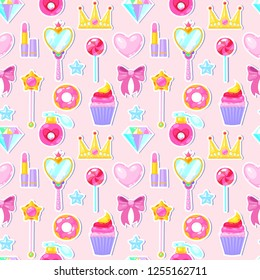 Seamless pattern with crown,diamond,heart,bow,mirrow and other elements on pink background