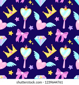 Seamless pattern with crown,diamond,heart,bow,mirrow and stars on dark background