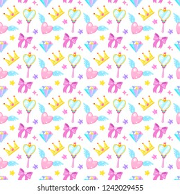 Seamless pattern with crown,diamond,heart,bow,mirrow and stars on white background