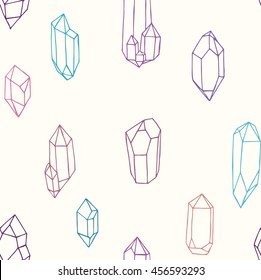 Seamless pattern with crystals and gems