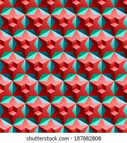 Seamless pattern with cubes hexagons and stars