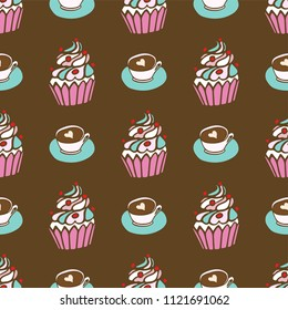 Seamless pattern with a cup of coffee and muffin. Coffee to go. Hand-drawn vector elements