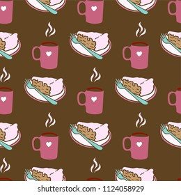 Seamless pattern with a cup of coffee and a piece of pie. Hand-drawn vector elements