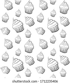Seamless pattern with cupcakes. Black and white cupcakes texture for menu, wallpapers, covers, greeting cards, wrapping papaer and web.