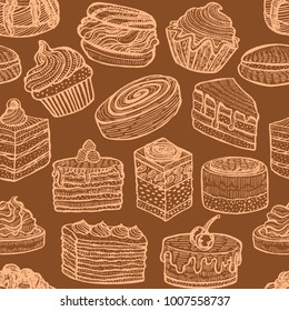 Seamless Pattern with Cupcakes Cakes and Pastries. Background with Sweets in Hand Drawn Doodle Style. Vector Illustration