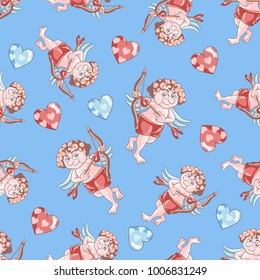 Seamless pattern with Cupids and hearts on a blue background. Valentine's Day. Vector illustration for postcards, clothing design and packaging and your design