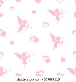 Seamless pattern with cupids and hearts.  Valentine's Day