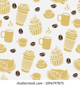 Seamless pattern with a cups of coffee. Coffee to go. Hand-drawn vector elements